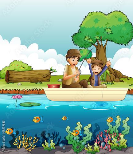 Aluminium Prints River, lake Two men fishing