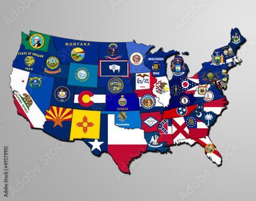 Türaufkleber Weltkarte Vereinigte Staaten von Amerika