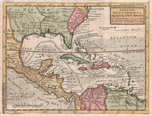 West Indies old map Wallpaper Mural