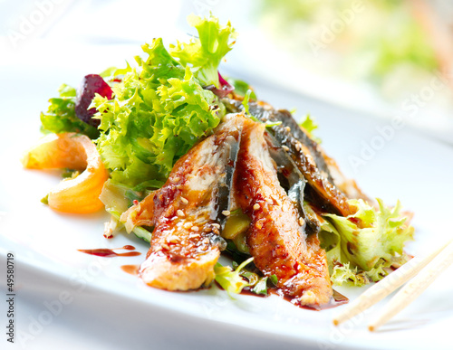 Papiers peints Plat cuisine Salad With Smoked Eel with Unagi Sauce. Japanese Food