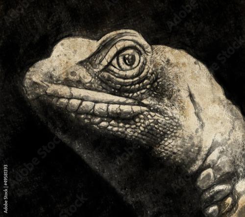 Nowoczesny obraz na płótnie Sketch made with digital tablet of lizard head in sepia