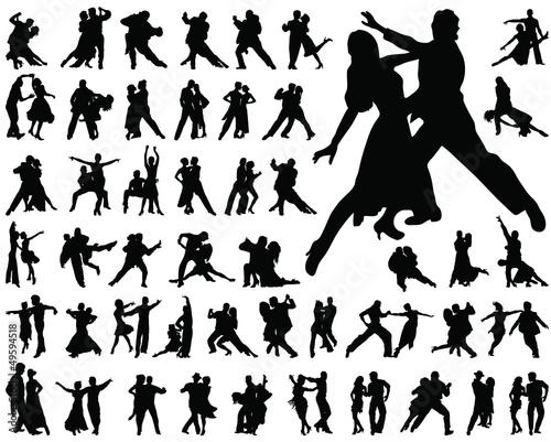 Fotografie, Obraz  Silhouettes of tango players