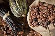 Leinwandbild Motiv Cacao, fèves et cabosse