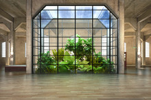 Empty Room Of Business, Or Residence With Atrium Background