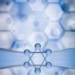 Molecule illustration blue background