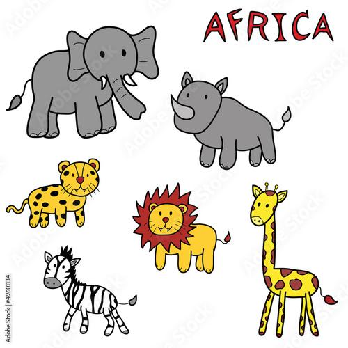 Poster de jardin Zoo animals of africa