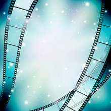 Background With Filmstrip And Stars