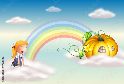 In de dag Regenboog A girl seeing a squash at the end of the rainbow