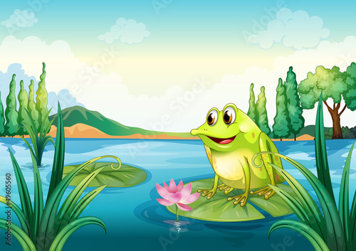 Poster de jardin Sous-marin A frog at the river