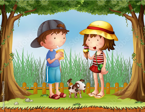 Garden Poster Dogs A boy with a glass of juice and a girl with an ice cream
