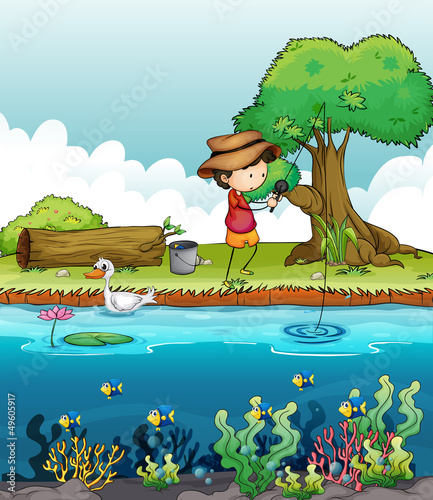 Printed kitchen splashbacks River, lake A boy fishing