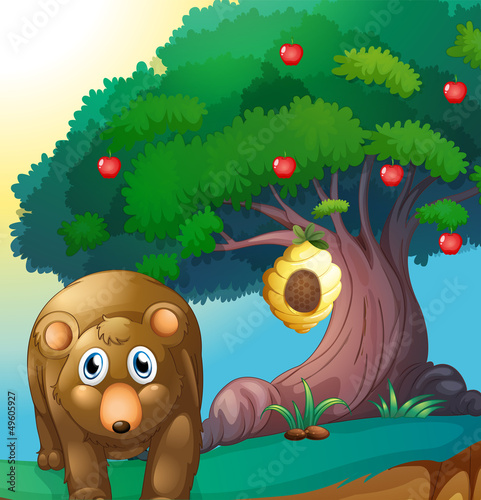Canvas Prints Bears A bear and an apple tree with a beehive