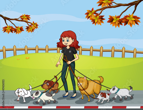 A lady at the park strolling with her pets