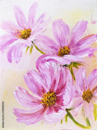 Naklejka dekoracyjna Cosmos Flowers, oil painting on canvas