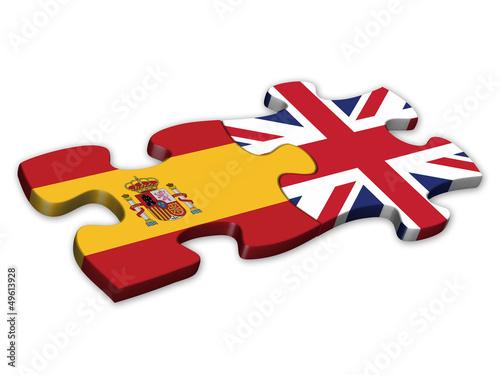 Foto  Spanish & UK Flags (Spain English languages translation jigsaw)
