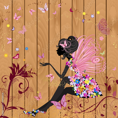 Foto op Canvas Bloemen vrouw Flower Fairy on a wood texture for your design