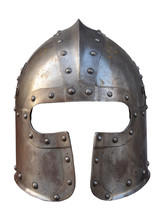 Helmet Of A Medieval Suit Of Armour On A White Background