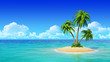 canvas print picture - Desert tropical island with palm trees.