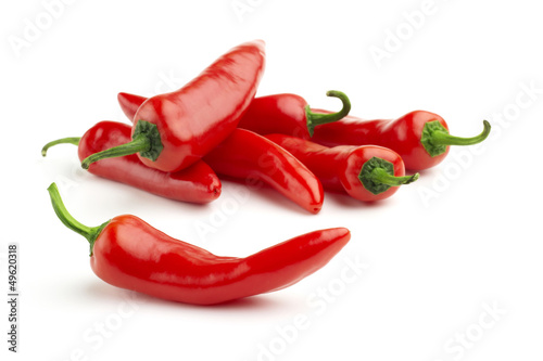 Spoed Foto op Canvas Hot chili peppers group of red chilies