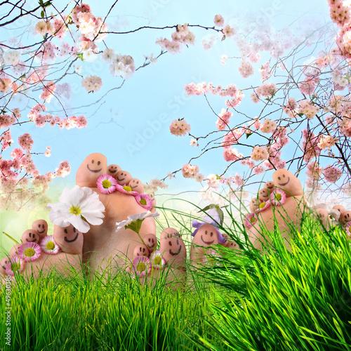 Plissee mit Motiv - Happy together: feet on summer meadow