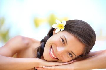 FototapetaWoman natural beauty relaxing at outdoor spa