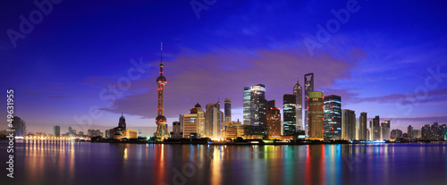 Poster Shanghai Lujiazui Finance&Trade Zone of Shanghai landmark skyline at dawn