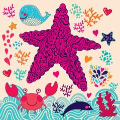 Underwater world. Vector cartoon illustration