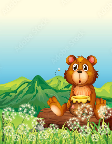 Wall Murals Bears A bear sitting at the trunk