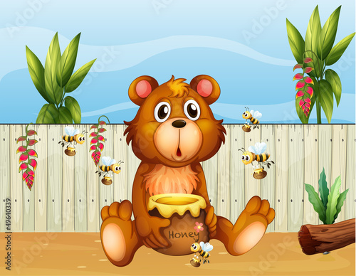 Staande foto Beren A bear with five bees