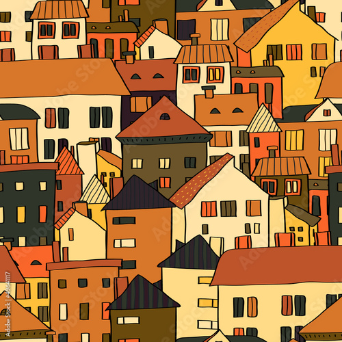 panorama-grodzcy-budynki-w-brown-bezszwowym-wzorze-wektor