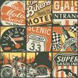 Vintage American bikers patchwork