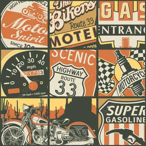 Vintage American bikers patchwork © PrintingSociety