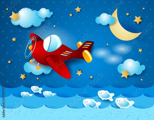 Deurstickers Vliegtuigen, ballon Red airplane over the sea