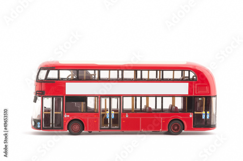 Fotografie, Tablou  toy model red london bus on a white with copy-space