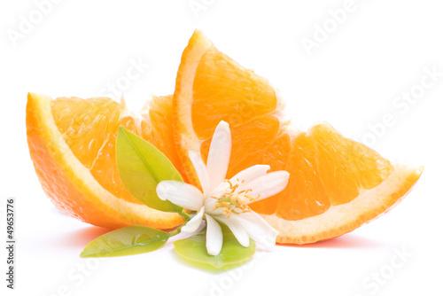 Fotografie, Obraz  Fresh oranges with orange blossom
