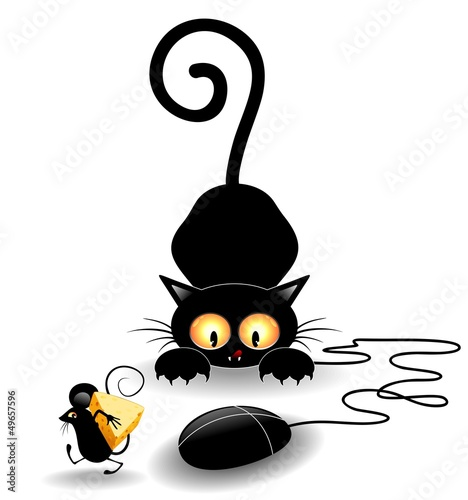 Funny Cat Cartoon with Computer Mouse-Gatto con Topo #49657596