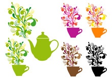 Coffee And Tea With Color Swirls, Vector Set