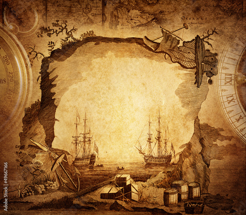 Ingelijste posters Schip adventure stories background