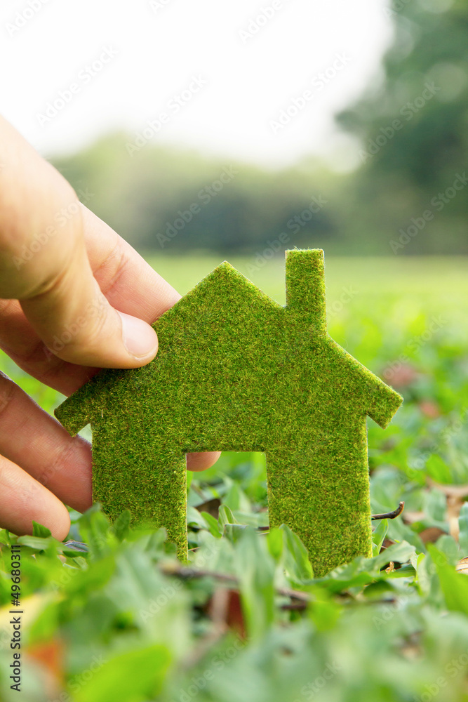 Fototapeta Hand holding eco house icon concept