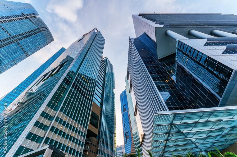 Fototapeta Skyscrapers in financial district of Singapore