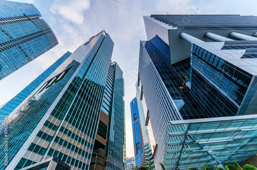 Acrylic Prints Singapore Skyscrapers in financial district of Singapore