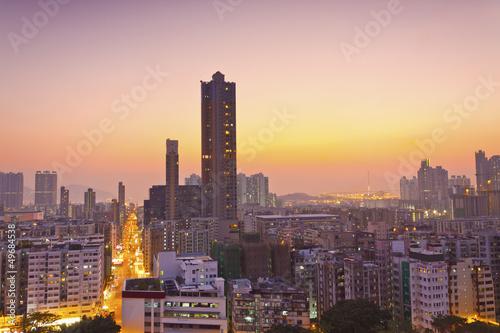 Staande foto Madrid Hong Kong downtown at sunset