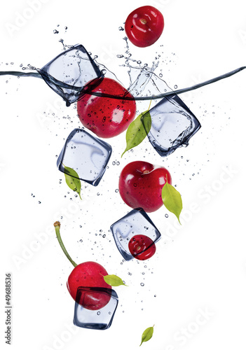 Poster Dans la glace Fresh cherries with ice cubes, isolated on white background