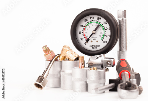 pressure gauge and tools isolated on white Canvas-taulu