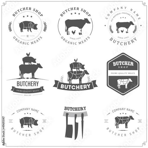 Fotografía  Set of butcher shop labels and design elements