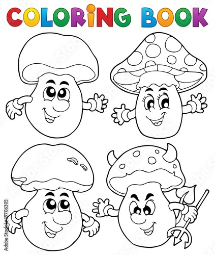 Spoed Foto op Canvas Doe het zelf Coloring book mushroom theme 1