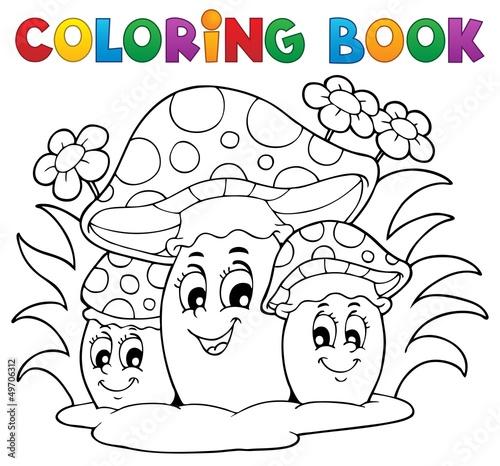 Spoed Foto op Canvas Doe het zelf Coloring book mushroom theme 2
