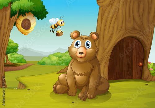 La pose en embrasure Forets enfants A bear and a bee near a treehouse