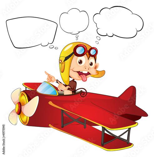 Cadres-photo bureau Avion, ballon A monkey riding on a red plane