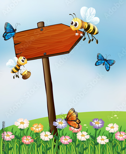 Tuinposter Vlinders An arrow board with insects